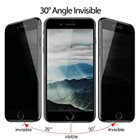 TIQUS 3D Full Coverage Anti-Spy iPhone 8 Plus Privacy Screen Protector, iPhone 7 Plus Tempered Glass Screen Protection [Pack of 2] [Black] from Shijihuaxia