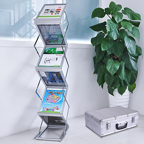 Yescom Portable Pop Up 5 Clear Pocket Magazine Brochure Literature Catelog Holder Rack Stand Tradeshow Display w/ Aluminum Carrying Case