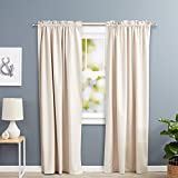 Insulating Curtains AmazonBasics Room Darkening Thermal Insulating Blackout Curtain Set with Tie Backs - 52 x 84 Inches, Beige (2 Panels)