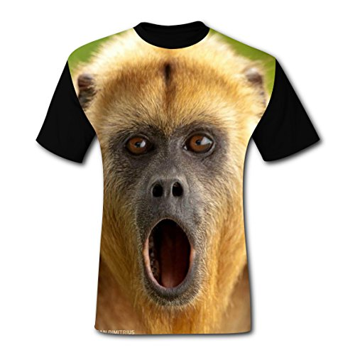 BYTimz Surprised Baboon Monkey T-shirts Original Design Round Neck Tee Shirts for Men