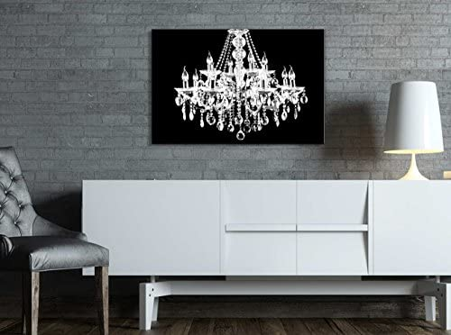 Wll Art Crystal White Chandelier on Black Background and Stretched