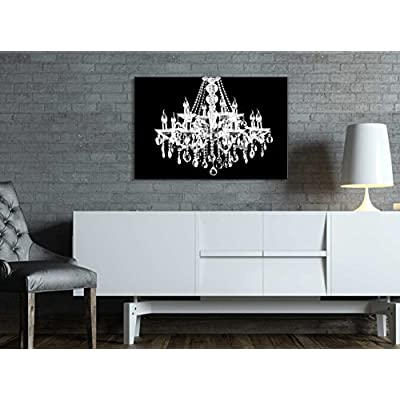 Canvas Wll Art - Crystal White Chandelier on Black Background - Giclee Print and Stretched Ready to Hang - 16