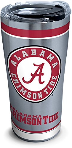 Tervis 1297816 NCAA Alabama Crimson Tide Tradition Stainless Steel Tumbler With Lid, 20 oz, Silver