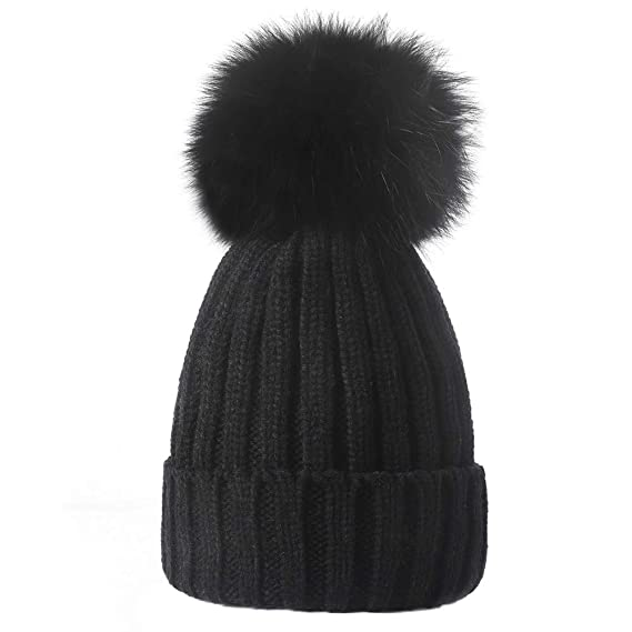 1f58d7cfe33 Yetagoo Knitted Warm Winter Beanie Hat Fur Pom Pom Chunky Slouchy Bobble  Cap at Amazon Women s Clothing store