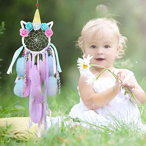 Aytai Unicorn Dreamcatcher for Kids Gift Handmade Dream Catcher with Colorful Feathers Ornaments for Wall Hanging Decorations, Birthday Unicorn Party Supplies (Dia: 5 Length 21)
