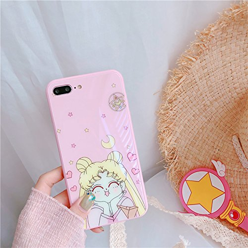 huge selection of 1ce7c 2249c Hard Tempered Glass Pink Sailor Moon Case for iPhone 7Plus 7+ 8Plus 8+  Large Size Jpanese Cartoon Bump Resistant Shockproof Protective Lovely Kids  ...