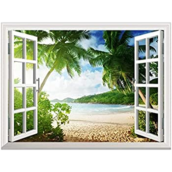 Wall26 Removable Wall Sticker/Wall Mural - Sunset on The Tropical Beach with Palm Trees | Creative Window View Home Decor/Wall Decor - 36
