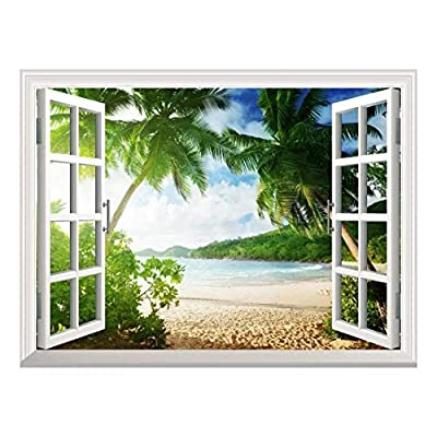 Removable Wall Sticker Wall Mural Sunset on The Tropical Beach with Palm Trees Creative Window View Wall Decor, Classic Design, Amazing Composition