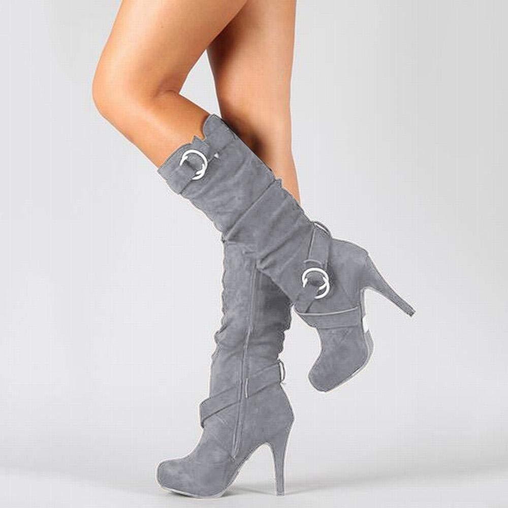 Funytine Stivali da Donna con Tacco Alto (Colore   grigio, Dimensione   34)