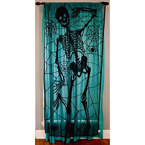 Black Skeleton Halloween Lace Window Curtain - 36 Inches X 84 Inches - And Halloween Wine Bottle (Black Lace Halloween Curtains)