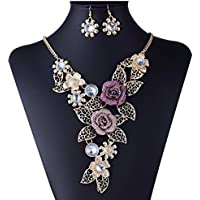 Women's Crystal Necklace Earrings Set, Mosunx Wedding sets Bohemian Jewelry set (Gold D)