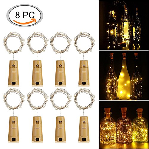 KUXIEN Bottle lights, LED cork lights 8 Pack Warm White Wine Bottle Cork Lights,Copper Wire LED String Lights Battery Powered, For Party, Decor, Wedding Parties,Mood Lights and and Valentine's (Halloween String Lights Amazon)