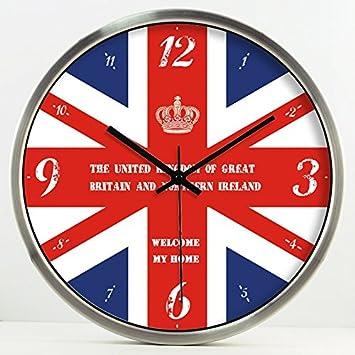 Vinteen Creatividad British Digital Timepiece Round Dormitorio Habitación infantil Reloj de pared Hotel Engineering Horologe Reloj