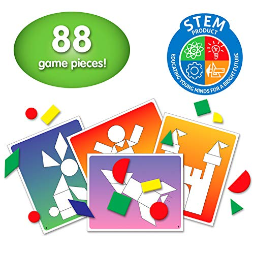 The Learning Journey: Match It! - Shape Shuffle - Tangram STEM - STEAM Game - 88 Pieces and 34 Double Sided Design Cards ()