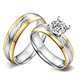ROWAG High Polished 6mm Mens Titanium Stainless Steel Couple Wedding Bands for Him and Her Womens Cubic Zirconia CZ Promise Engagement Rings,Men Size 9