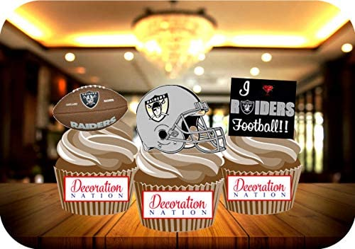 Groovy 12 X Oakland Raiders Birthday Edible Cake Toppers Decorations Funny Birthday Cards Online Inifofree Goldxyz