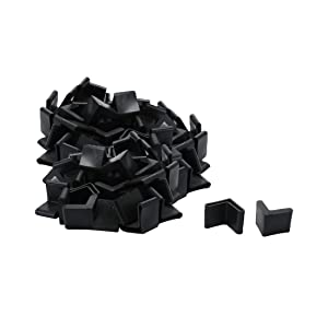 uxcell Furniture Angle Iron Foot Pads L Shaped Rubber Leg End Covers Protectors 25 x 25mm Black for Home Office 50pcs