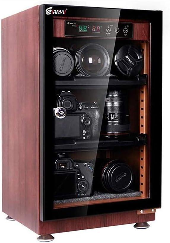 CHENGL Armario de Secado deshumidificador electrónico LED para cámaras y Lentes de Gran Almacenamiento para Equipo fotográfico Grano de Madera