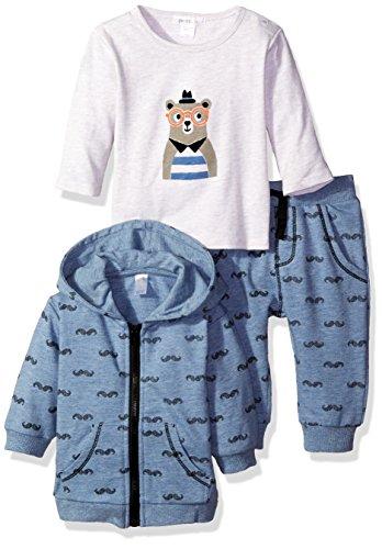 Price comparison product image Petit Lem Baby Boys' Mustache Print 3 Piece Jacket Set,  Music,  24 Months