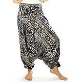 Lofbaz Women's Tribal Harem 2 in 1 Jumpsuit Pants Dark Blue S