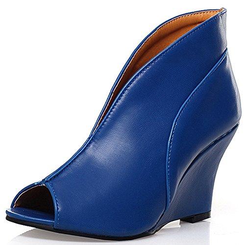 Talon De Mode Femmes Talon Compensé Peep Toe Bottine Bleu