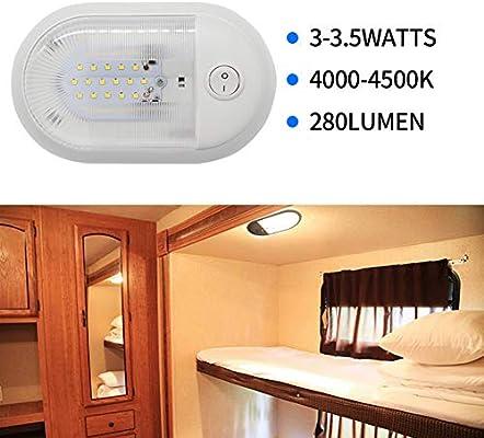 Romsion - Lámpara de Techo LED para Caravana o Remolque, 12 V ...