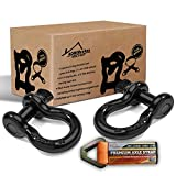 "D Rings Shackles 3/4""-2 Pack Bundle with Axle Strap for Winch, Towing 20 tons (41,786 lbs) maximum Break Strength, Heavy Duty Shackle accessories For Jeep Truck Tow Strap Off Road Vehicle Recovery."