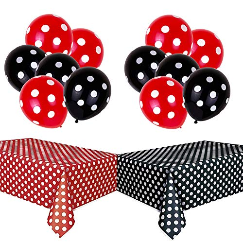 Yellow Polka Dot Tablecloth (TONIFUL Polka Dot Party Decorations Kit with 2 Pack Red & Black Polka Dot Plastic Tablecloth and 12 Pcs Red &Black Polka Dot)
