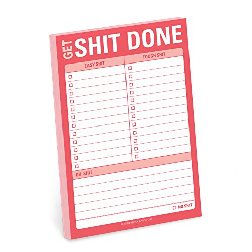 Knock Knock Get Shit Done Great Big Sticky Note, Large to-Do List Sticky Pad, 4 x 6-inches