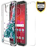 GORGCASE Moto Z3 Play/Moto Z3 Case with Screen Protector, Luxury Slim Glitter Liquid Flowing Sparkle Clear TPU Bumper Cute Protective Cover for Girls Women Teen for Motorola Z Play 3nd Gen 2018 Teal