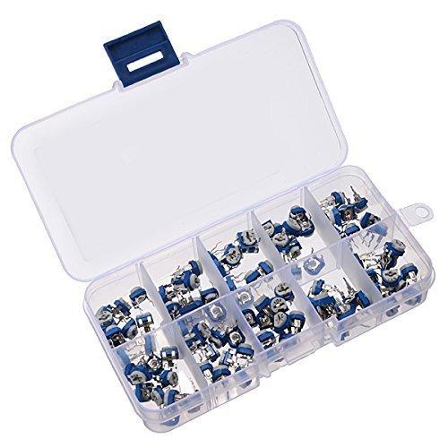 Alohha 100PCS 10 Values (500~1M ohm) RM065 Preset Carbon Film Horizontal Trimpot Potentiometer Assortment Kit with Storage Box