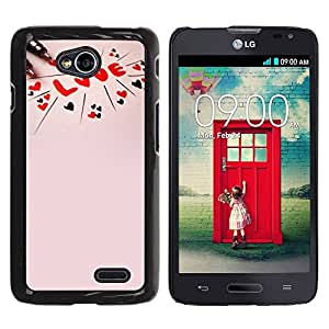 Paccase / SLIM PC / Aliminium Casa Carcasa Funda Case Cover para - Love Text Pink Peach Red Hearts Valentines - LG Optimus L70 / LS620 / D325 / MS323