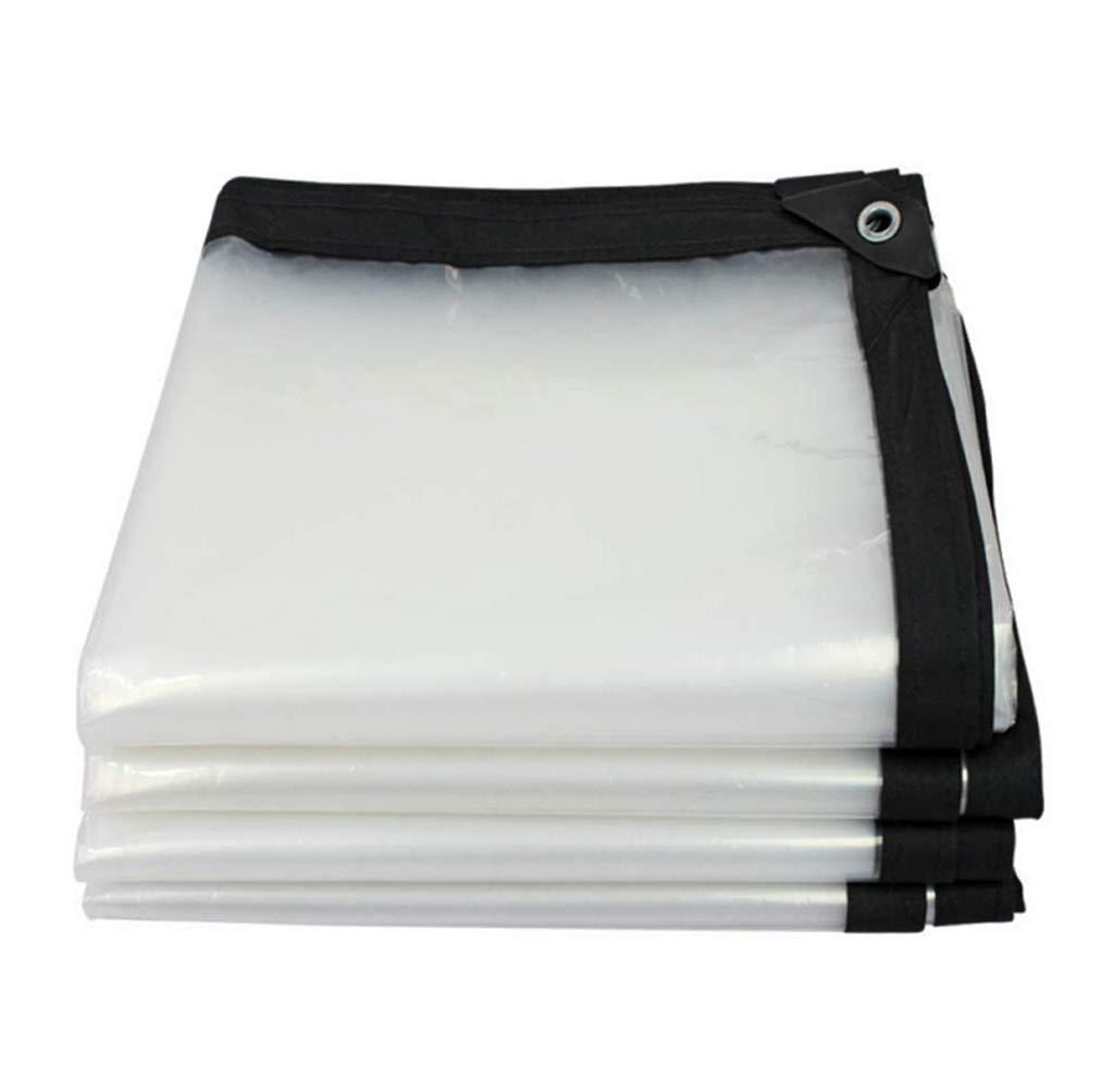 JKJJE 透明糸入りシート、屋外ポリターポリンカバーヒートシールロープをアイレットで補強,white_5x6m B07L8FGZS6 white 5x6m