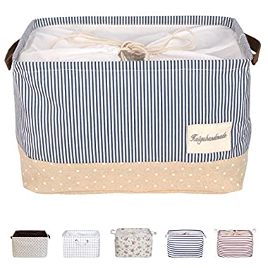 DOKEHOM DKA0611BBS 15  Storage Basket (Available 15  and 17 ) Drawstring Square Cotton Linen Collapsible Toy Basket (Navy Blue, M)
