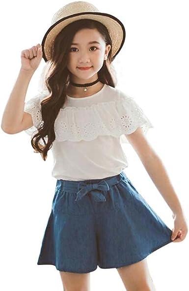 Toddler Kids Baby Girls Summer Tops T-shirt Denim Mini Skirt Set Dress Outfit UK