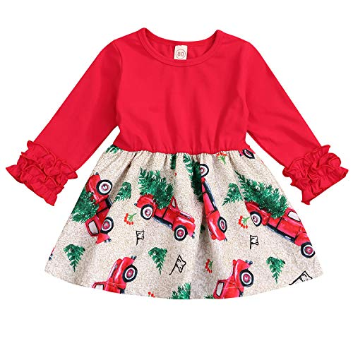 Toddler Kids Baby Girls Christmas Dress Outfits Ruffle Sleeve Gift Car Print Dress Children Leopard Clothes (Red, 2-3 t)