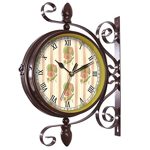 Wrought Iron Antique-Round clock Wall Retro Station Chandelier Double Sided Wall Clock -360 Degree Quiet Grand Central Station Wall Clock451.Lotus Flower, Waterlily, Wallpaper, Wall, Covering