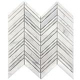 Wallandtile Arabescato Carrara 1''x 4'' Chevron Interlocking Polished Mosaic Tile