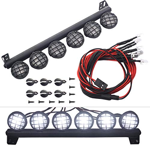 ShareGoo RC 6Led LED Light Bar Headlight Metal Roof Lamp for Traxxas TRX4 Axial SCX10 90046 D90 RC4WD 1/10 RC Rock Crawler,150mm/5.9 (Color: White)