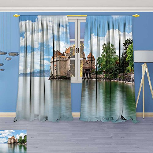 (SOCOMIMI 758 Panel Set Digital Printed Window Curtains,View of Famous Chateau de chillon at Lake Geneva one of Switzerland for Bedroom Living Room Dining Room, 108W x 108L)
