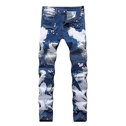 Wholesale Fashion Jeans (IA ROD CA Men's Biker Moto Straight Skinny Slim Fit Stretch Comfy Fashion Denim Jeans Pants W28)