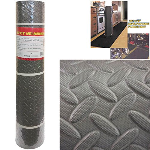 Super Comfortable 36' x 78' Anti Fatigue Pre-Rolled Floor Mat With Grooved Texture For Sure Grip