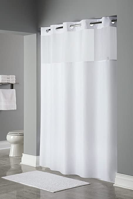 Trendy Linens Hookless Shower Curtain Detachable Liner Its A Snap Hotel Quality Polyester Magnets Sheer