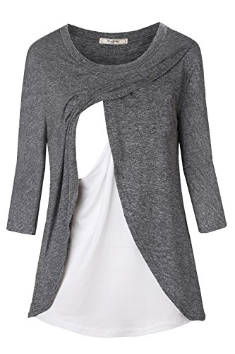 Viracy Maternity Shirts Women, Lady Nursing Tunic Tops Long Sleeve Breastfeeding Nightgown Functional Stretchy Relaxed Fit Round Neck Casual Feeding Clothing Side Slits Grey XXL