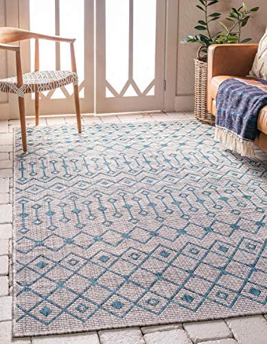 Unique Loom Outdoor Trellis Collection Tribal Geometric Transitional Indoor and Outdoor Flatweave Light Blue Area Rug 9 0 x 12 0