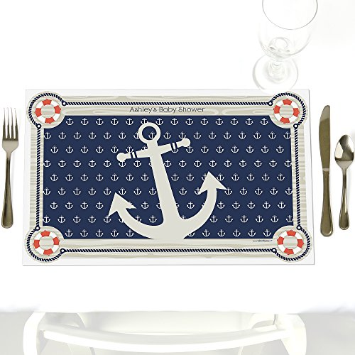 Personalized Paper Placemats - Custom Ahoy - Nautical - Party Table Decorations - Personalized Baby Shower or Birthday Party Placemats - Set of 12