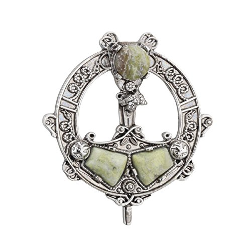 Tara Brooch Rhodium Plated & Connemara Marble Irish Made ()