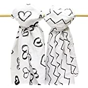 B.B. Swanky Swaddle Blankets 2-Pack by Bodacious Bambino | Soft Baby Muslin Blankets | Swaddling Blankets with Hearts & Zig Zags