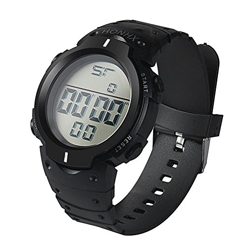 SHORY Men's Digital Sport Watch Fashion LCD Digital Water Resistant Outdoor Watch Date Rubber Sport Wrist Watch White (Polder Digital In Oven Thermometer Timer Graphite Color)