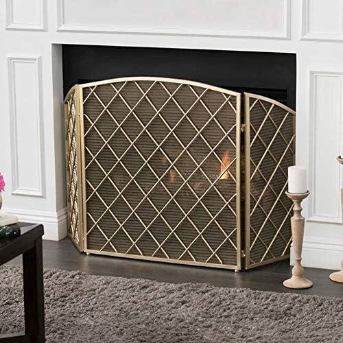 暖炉スクリーン 3つのパネルが付いている現代大きい暖炉スクリーン、暖炉のための鋼鉄網の消防士/ストーブスクリーン、高さ31.9インチx幅52インチ (Color : Gold)